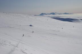 大雪原のトラバース