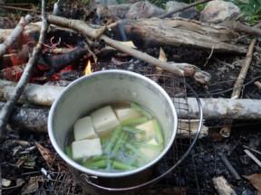 ミズと高野豆腐の煮物を作ってみました