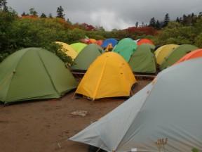 テント場はぎゅうぎゅうでした。